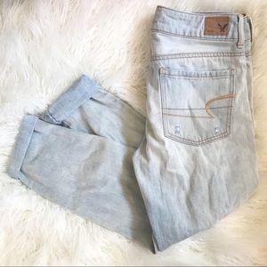 American Eagle Boyfriend Crop Distressed Jeans